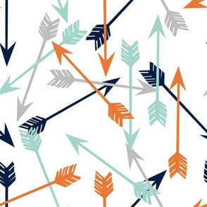 arrows scattered // orange mint grey navy boys print