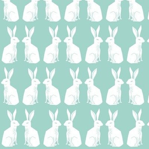 rabbits // bunny rabbits animal cute animal mint easter baby nursery kids block print
