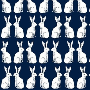 rabbit // block print navy bunny rabbit easter kids nursery baby