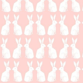 rabbit // block print pink pastel nursery baby girl sweet rabbits easter