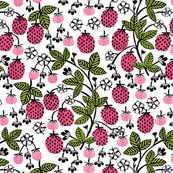 strawberry garden // sweet linocut strawberry sweet garden gardening fruits flowers florals spring summer pink and green