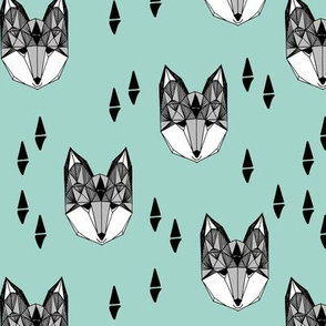 fox // mint and grey fox head geometric fox animal nursery baby kids