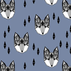 fox // fox head blue grey kids baby boy nursery kids foxes woodland animal geometric boys design