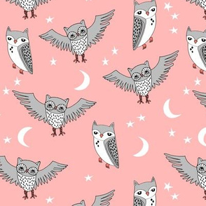 owl // pink sun moon stars kids sweet little girls illustration pattern for print