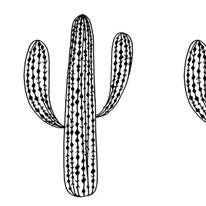 Cactus Plush black and white desert cacti