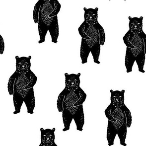 bear // standing forest bear black and white kids baby nursery crib sheet quilt