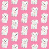 Puppy on pink