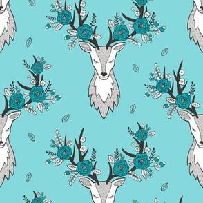 Deer Head in Aqua Blue