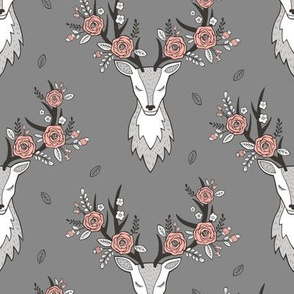 Deer Head on Dark Grey