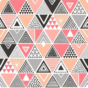 Geometric Triangles Peach Black&White