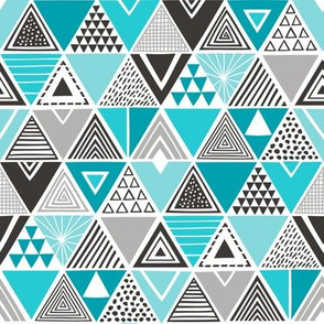 Geometric Triangles Aqua Blue Black&White