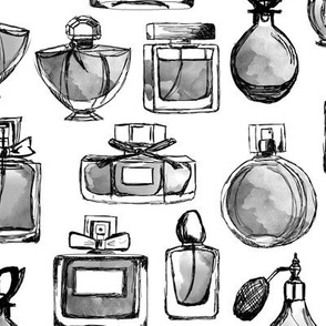 perfume // watercolor greyscale vintage perfume bottles vintage beauty fabric fashion illustration design