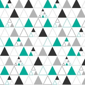 Triangles - Stacked in Teal Gray Charcoal