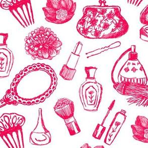 vintage makeup // pink illustration girly girl