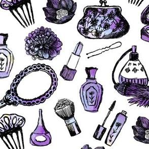 vintage makeup // watercolor purple beauty girly