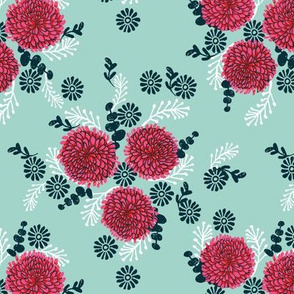 chrysanthemum // vintage style flowers floral print for sweet little girls illustration
