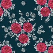 Chrysanthemum // florals flower  Love Valentines Day Red Girly flowers vintage elegant illustration pattern