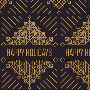 Happy Holidays Art Deco Print