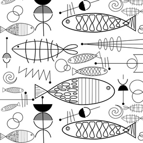 Mid-Century Modern Fish Black and White