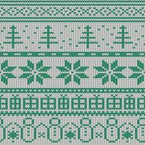 Fair Isle Xmas (green on white)