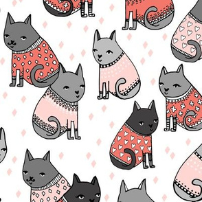 cats in sweaters // light pink and coral fashion print for cat ladies in repeating pattern