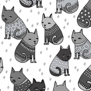 cats in sweaters // greyscale fashion print for girly prints textiles