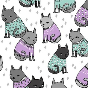 cats in sweaters // lilac and mint heart and plus sweaters for cat lady fashion fabrics and girly prints