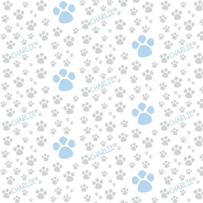 Paw Prints  SMALL - blue gray-P ERSONALZIED-ed