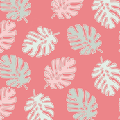 Tropical Leaves in Pink, Coral & Blue