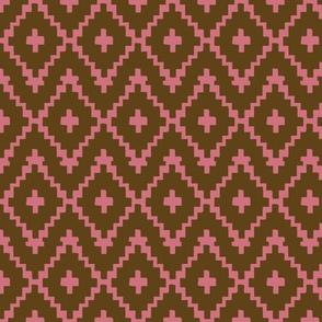 Southwest Diamonds Chevron - brown & coral