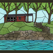 little_red_cabin_stained_glass_window