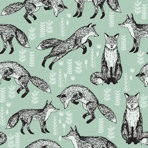 fox // mint woodland forest woods hand-drawn illustration cute nursery baby fox