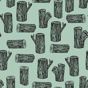 tree logs // stump tree logs woodland forest lumberjack wood hand-drawn nursery mint illustration