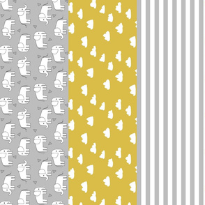 elephant cheater quilt // mustard and grey gender neutral baby nursery sweet baby quilt crib quilt baby blanket