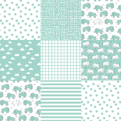 elephant quilt // mint square cheater quilt for nursery baby crib sheets wholecloth