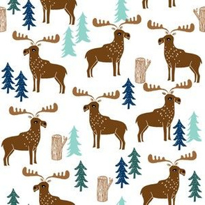 moose // forest trees mint brown kids canada boy baby nursery