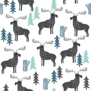 moose // charcoal mint grey blue kids baby boy forest trees outdoors canada