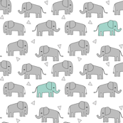 elephant // grey and mint kids nursery baby mint and grey baby print