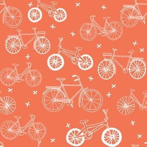 bicycles // orange bikes bicycle cute fun summer bright bicycle print portland