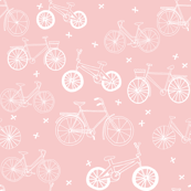 bicycles // pink pastel cute girls little girls pastel bicycles print for nursery baby girl