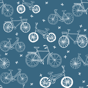 bicycles // hand-drawn illustration bike bicycles blue portland summer boys