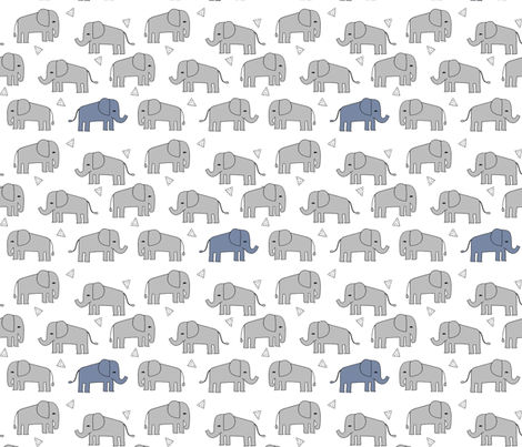 Elephant grey and blue elephants little boy baby boy for Little boy fabric
