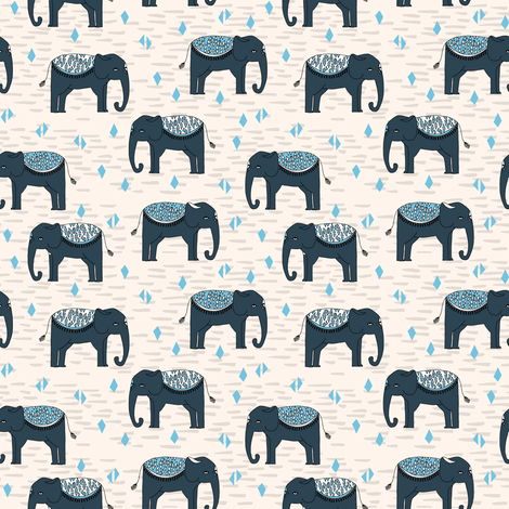 Elephant parade small kids baby triangles elephants for Childrens elephant fabric