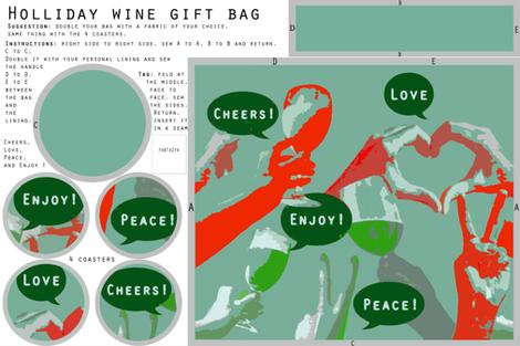 Holiday wine gift bag