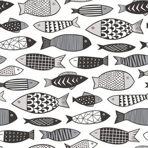 Fish Geometric Black&White Grey