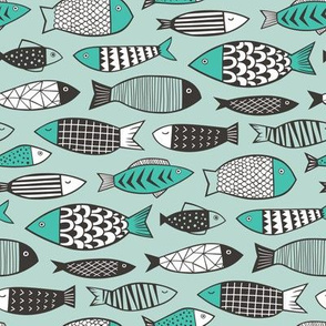 Fish Geometric Black&White on Mint Green