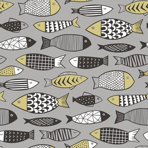 Fish Geometric Black&White on Grey