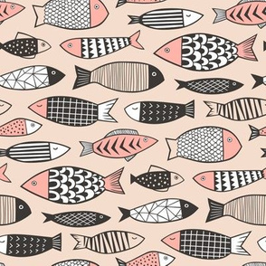 Fish Geometric Black&White on Peach