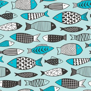 Fish Geometric in Blue