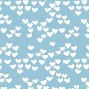 Pastel love hearts tossed hand drawn illustration pattern scandinavian style in soft winter blue XS